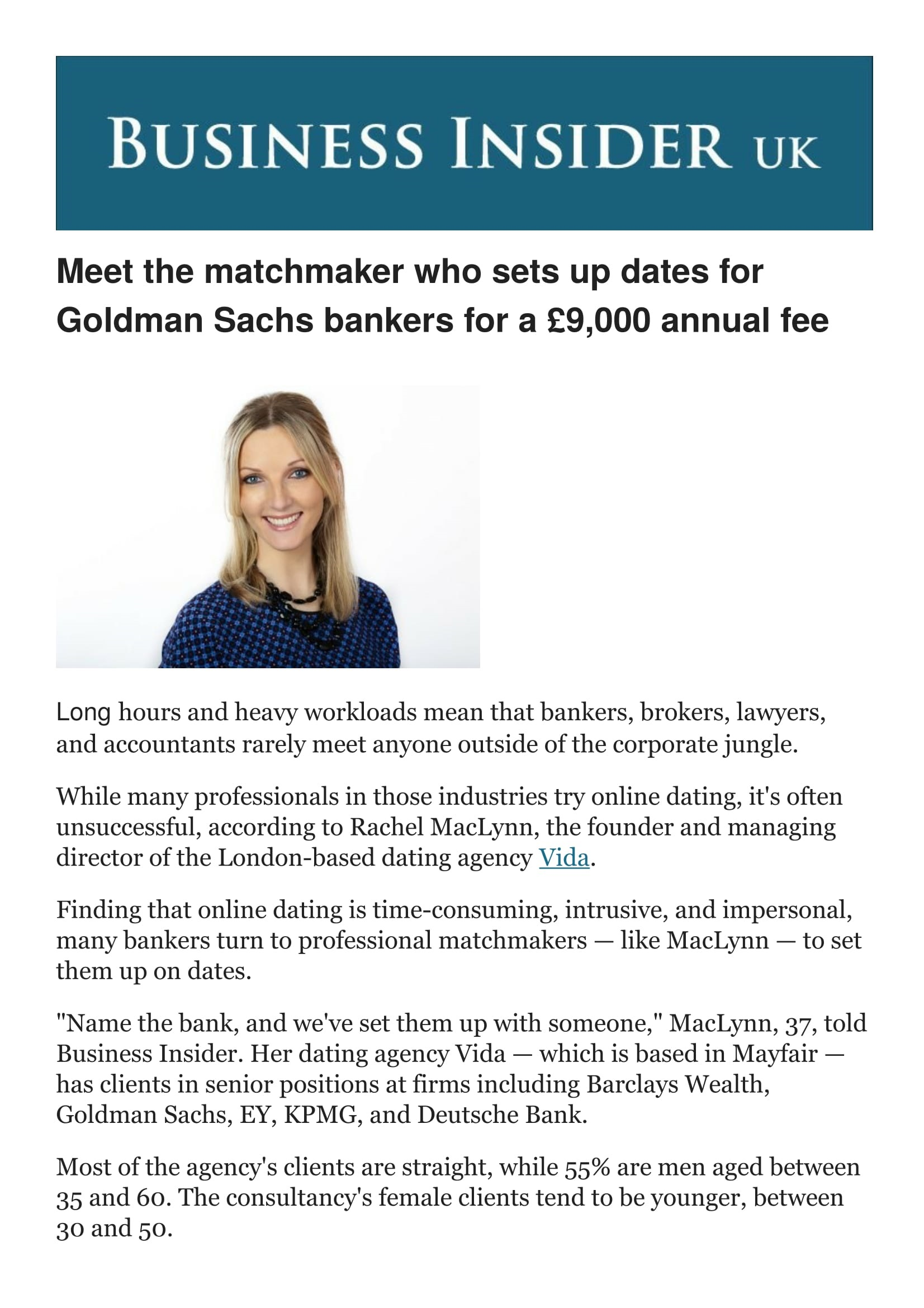 matchmaker business insider UK