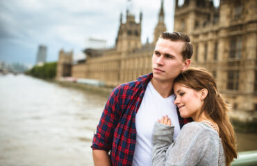 Politics and romance: Couple walking togetherness in London